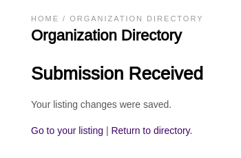 Submission Received confirmation page
